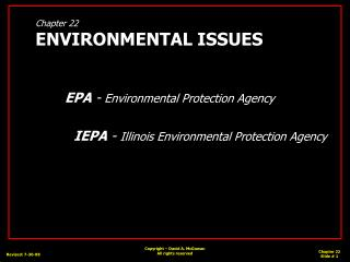 Chapter 22 ENVIRONMENTAL ISSUES