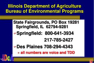 Illinois Department of Agriculture Bureau of Environmental Programs