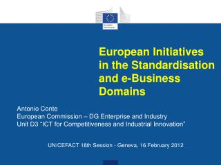 European Initiatives in the Standardisation and e-Business Domains