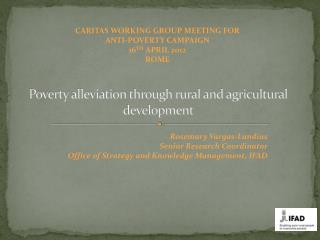 Poverty alleviation through rural and agricultural development