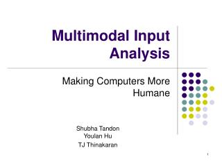 Multimodal Input Analysis