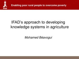 Enabling poor rural people to overcome poverty