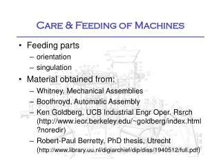 Care & Feeding of Machines