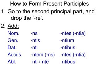 How to Form Present Participles