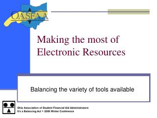 Making the most of Electronic Resources