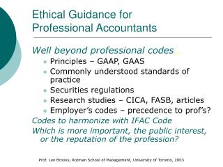 Ethical Guidance for  Professional Accountants