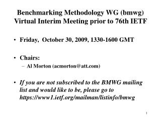 Benchmarking Methodology WG (bmwg) Virtual Interim Meeting prior to 76th IETF