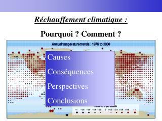Réchauffement climatique : Pourquoi ? Comment ?