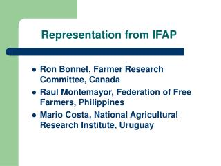 Representation from IFAP