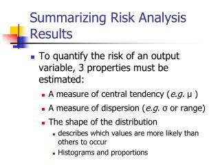 Summarizing Risk Analysis Results