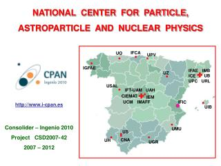 NATIONAL  CENTER  FOR  PARTICLE,  ASTROPARTICLE  AND  NUCLEAR  PHYSICS