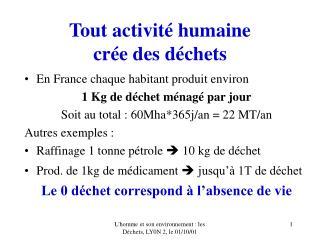 Tout activité humaine  crée des déchets