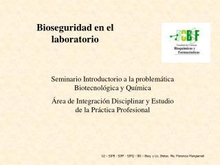 Seminario Introductorio a la problem tica Biotecnol gica y Qu mica  rea de Integraci n Disciplinar y Estudio de la Pr ct