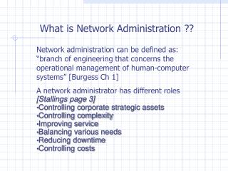What is Network Administration ??