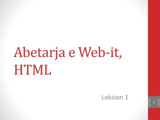 Abetarja e Web-it , HTML