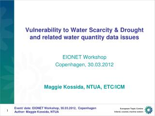 Vulnerability to Water Scarcity & Drought  and related water quantity data issues