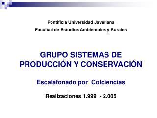 Pontificia Universidad Javeriana Facultad de Estudios Ambientales y Rurales GRUPO SISTEMAS DE