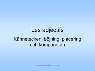Les adjectifs