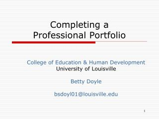 Completing a  Professional Portfolio