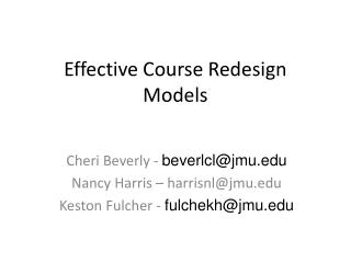 Effective Course Redesign Models