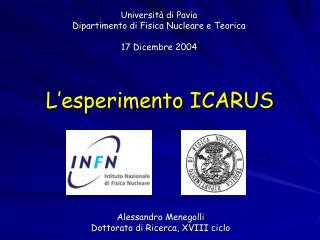 Universit� di Pavia Dipartimento di Fisica Nucleare e Teorica 17 Dicembre 2004