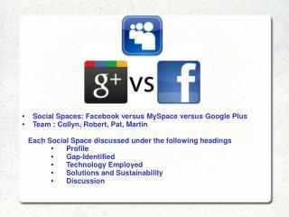 Social  Spaces :  Facebook  versus  MySpace  versus Google  Plus