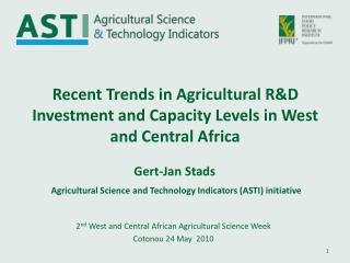 Recent Trends in Agricultural RD Investment and Capacity Levels in West and Central Africa