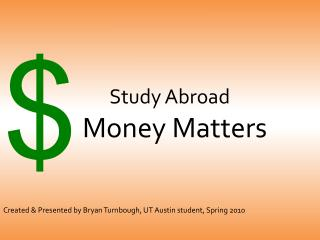 Study Abroad  Money Matters