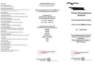 Referenten: Dr. Christian Bannert Pharmakoökonomie-Beratung