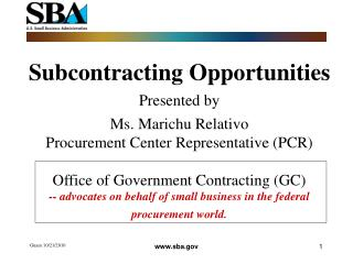 Subcontracting Opportunities Presented by Ms. Marichu Relativo
