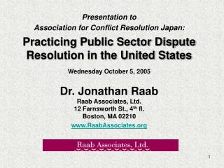 Presentation to  Association for Conflict Resolution Japan: