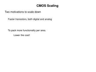 CMOS Scaling