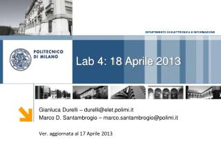 Lab 4: 18  Aprile  2013