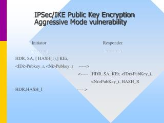 IPSec/IKE Public Key Encryption 	Aggressive Mode vulnerability