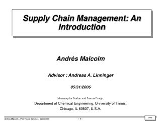 Supply Chain Management: An Introduction