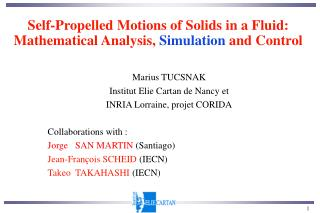 Self-Propelled Motions of Solids in a Fluid:  Mathematical Analysis,  Simulation  and Control