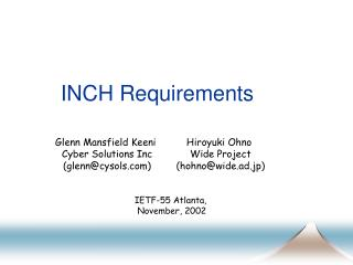 INCH Requirements