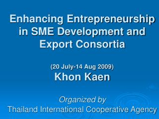 National SME Development and Business Clusters