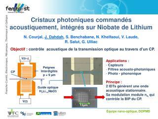 Cristaux photoniques commandés  acoustiquement, intégrés sur Niobate de Lithium