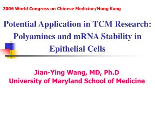 Potential Application in TCM Research: Polyamines and mRNA Stability in Epithelial Cells
