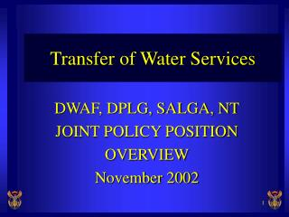Transfer of Water Services