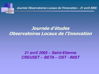 Journée d'études Observatoires Locaux de l'Innovation