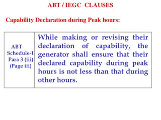 ABT / IEGC  CLAUSES