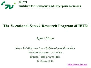 The Vocational School Research  Program of IEER