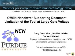 OMEN Nanoiwre* Supporting Document Limitation of the Tool at Large Gate Voltage