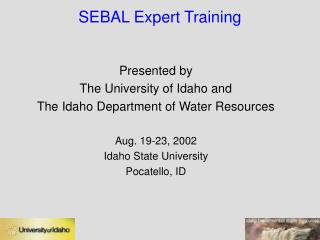 SEBAL Expert Training