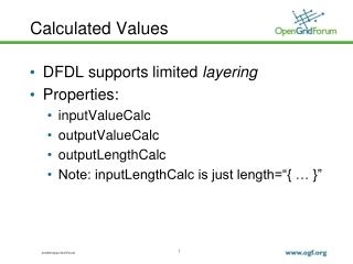 Calculated Values