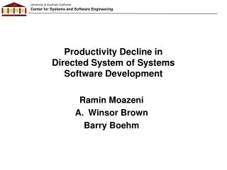 Productivity Decline in  Directed System of Systems Software Development