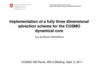 COSMO-GM Rome, WG-2 Meeting, Sept. 5, 2011