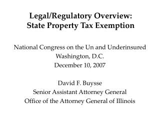 Legal/Regulatory Overview: State Property Tax Exemption